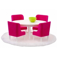 Lundby Smaland Dining Room Set - Hot Pink