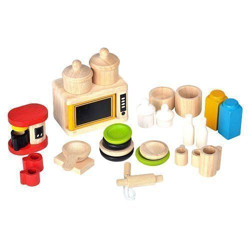 PlanToys Dolls House Kitchen and Tableware - 26 piece set