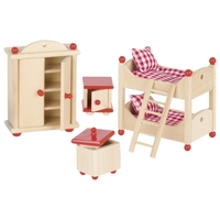 GOKI Dolls House Children's Bedroom Furniture - Red