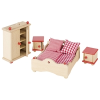 GOKI Dolls House Master Bedroom Furniture - Red