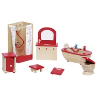 GOKI Dolls House Bathroom Furniture - Red