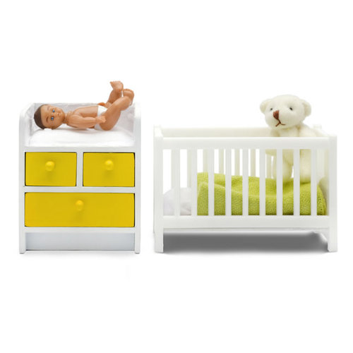 Lundby Stockholm Nursery Set with Cot, Change Table & Baby